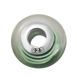 Charmes De Memoire Green and White Murano Glass Bead Charm in Platinum Plated Sterling Silver