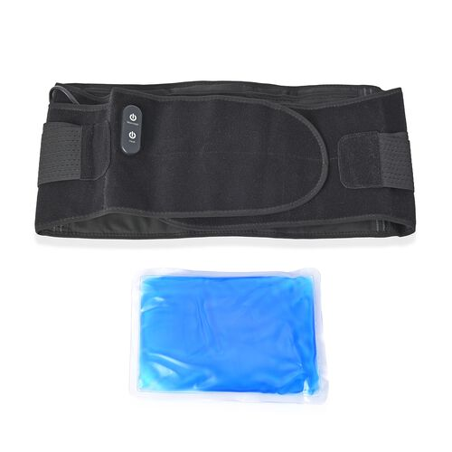 3 in 1 USB Powered Heated Waist Belt with Ice Gel Bag, (Power Bank or Adapter not Included) - Black