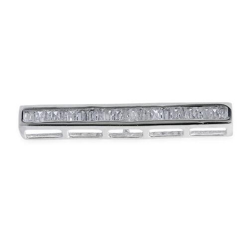 9K W Gold SGL Certified Diamond (Bgt) Bar Shape Pendant 0.250 Ct.