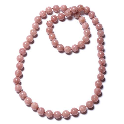 755 Carat Strawberry Quartz Beaded Necklace 30 Inch