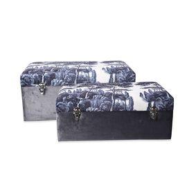 Set of 2 - Grey and White Pinery Pattern Velvet Wooden Storage Box