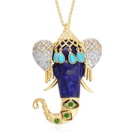 Hand Made - Lapis Lazuli, Arizona Sleeping Beauty Turquoise, Russian Diopside and White Zircon Elephant Head Pendant With Chain (Size 18) in Yellow Gold Overlay Sterling Silver 41.800 Ct.