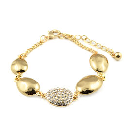 White Austrian Crystal Station Bracelet in Gold Tone 7.5 with 2 inch Extender