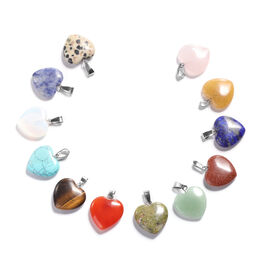 One Time Deal- Set of 12 - Multi Gemstone Heart Shaped Pendant