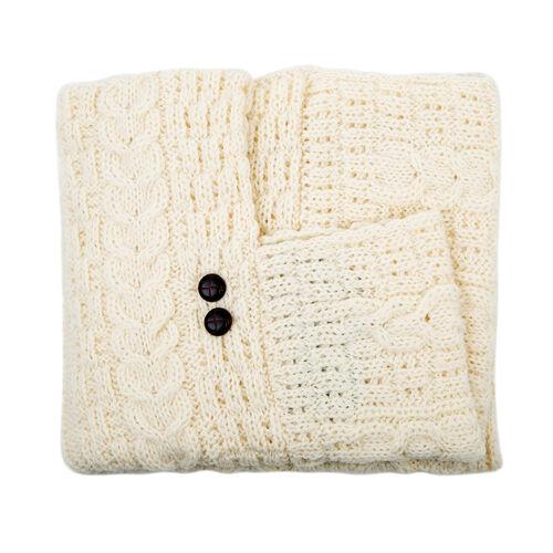 Aran 100% New Woollen Mills Irish Poncho in Cream Colour - One Size (8-18)