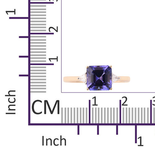 ILIANA 18K Yellow Gold AAA Tanzanite (Asscher Cut 8x8mm), Diamond (SI/G-H) Ring 2.84 Ct.