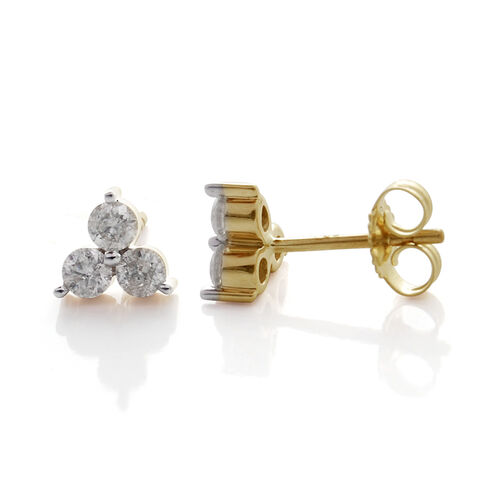 9K Yellow Gold SGL Certified Diamond (Rnd) (I3/G-H) Stud Earrings (with Push Back) 0.500 Ct.