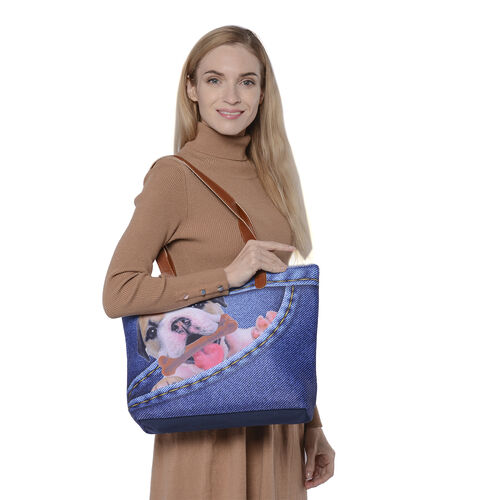 Adorable Black and White Dog in Jeans Pocket Print Tote Bag in Blue (42x9x32cm)
