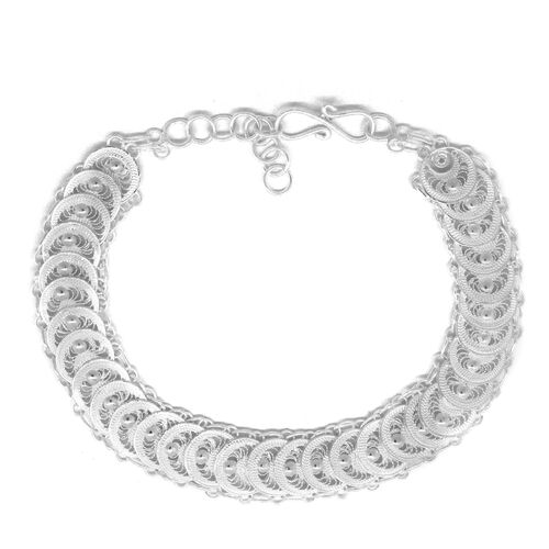 Royal Bali Collection Sterling Silver Quilled Circle Bracelet (Size 8 with Extender), Silver wt 10.00  Grams