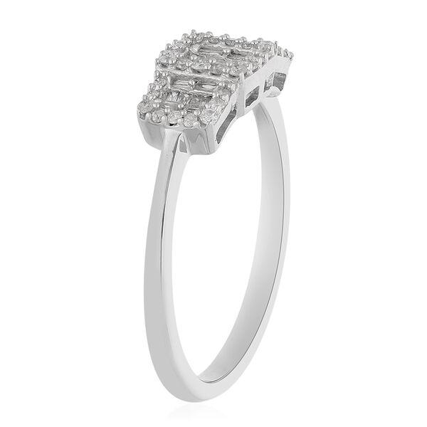 9K White Gold SGL Certified Dimaond (I3/G-H) Ring 0.33 Ct.