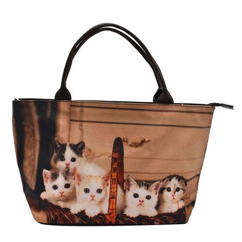 Thomas Calvi Kitten Print Hand Bag (Size 39x14x23cm) - Brown
