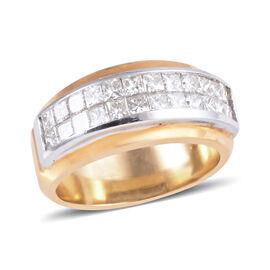 ILIANA 18K White & Yellow Gold 1.29 Ct Diamond Ring (Princess Cut Two Row Half Eternity Band Ring)SG