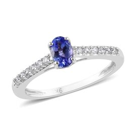 9K White Gold Tanzanite (Ovl), Natural Cambodian Zircon Ring 2.50 Ct.