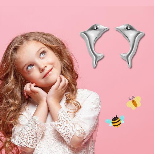 Little Dolphin Stud Earrings for Kids in Sterling Silver