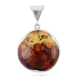 LIVE from Tucson-  Bi- Colour Champagne Baltic Amber (Ovl) Pendant in Sterling Silver, (Silver 13 Gm