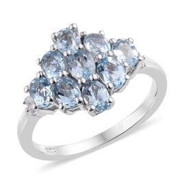 Espirito Santo Aquamarine (Ovl), Diamond Cluster Ring in Platinum Overlay Sterling Silver 1.520  Ct.