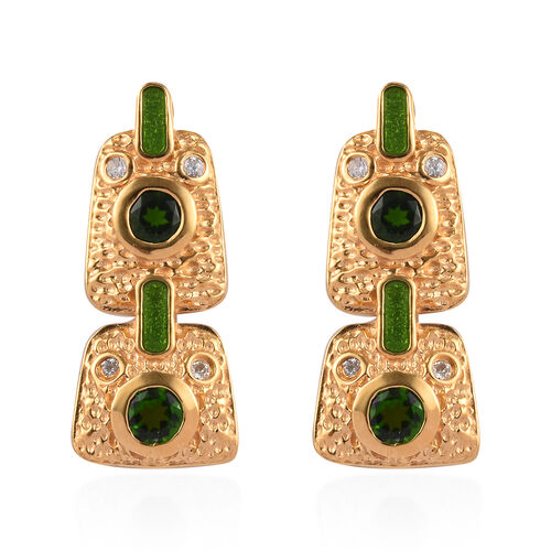 GP Russian Diopside, Natural Cambodian Zircon and Blue Sapphire Dangling Enamelled Earrings (with Pu