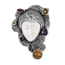 Princess Bali 4.04 Ct OX Bone Carved Face and Multi Gemstone Bone Pendant in Silver