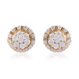 9K Yellow Gold SGL CERTIFIED Diamond (Rnd) (I3 / G-H) Stud Earrings (with Push Back) 1.00 Ct.