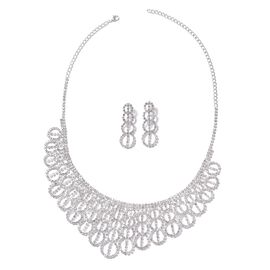 2 Piece Set - White Austrian Crystal (Rnd) Necklace (Size 16 with 5.5 inch Extender) and Dangle Earr
