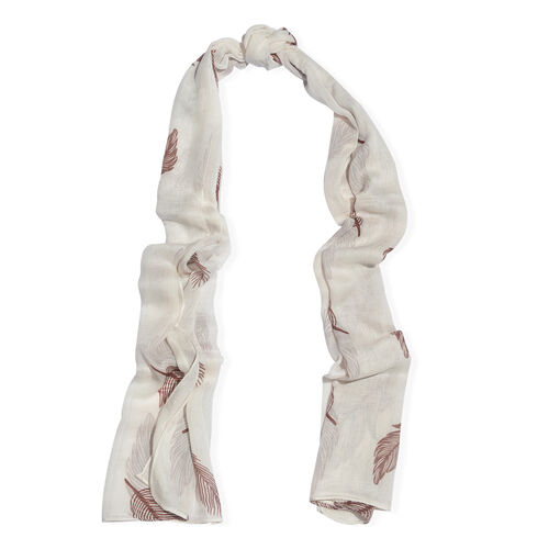 Off White, Chocolate Brown and Multi Colour Feather Pattern Scarf (170 x65Cm)