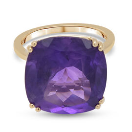 9K Yellow Gold Lusaka Amethyst Solitaire Ring 12.00 Ct.