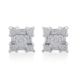 9K White Gold SGL Certified Diamond (IG-H) Stud Earrings (with Push Back) 0.50 Ct.