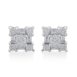 0.50 Ct Diamond Stud Earrings in 9K White Gold SGL Certified I3 GH
