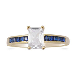 ELANZA Simulated Diamond and Simulated Blue Sapphire Ring in Yellow Gold Overlay Sterling Silver