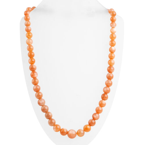 Extremely Rare- Peach Moonstone (Rnd) Graduated Beads Adjustable Necklace (Size 18 to 24) in Rhodium