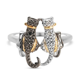 Black and White Diamond (Rnd) Cat Ring in Platinum Overlay Sterling Silver with Black and Yellow Gol