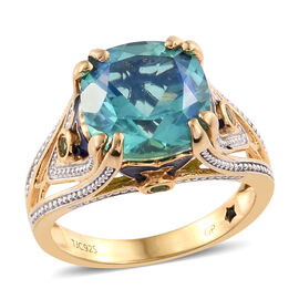 GP Peacock Quartz (Cush 7.55 Ct), Russian Diopside and Kanchanaburi Blue Sapphire Enameled Ring in 14K Gold Overlay Sterling Silver 7.750 Ct. Silver wt 5.58 Gms.