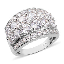 J Francis Platinum Overlay Sterling Silver Ring Made with SWAROVSKI ZIRCONIA 5.95 Ct.