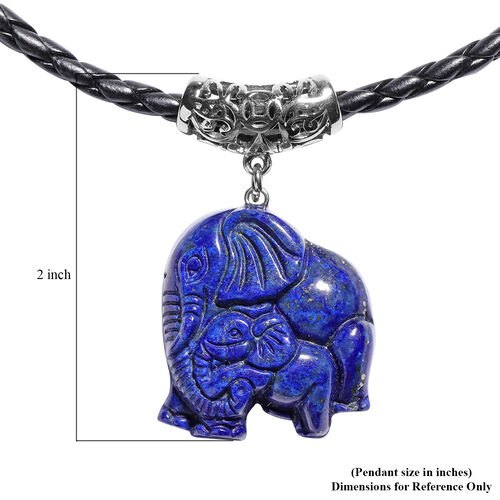 Carved Lapis Lazuli Elephant Necklace (Size 20 with Extender) in Stainless Steel 30.00 Ct.