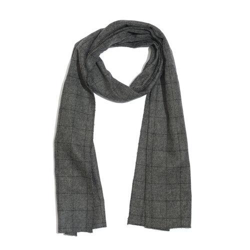 Grey Colour Checks Pattern Designer Muffler Scarf (Size 170x35 Cm)