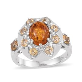 Baltic Amber (Ovl), Citrine Ring in Platinum Overlay Sterling Silver 2.250 Ct. Silver wt 5.75 Gms.