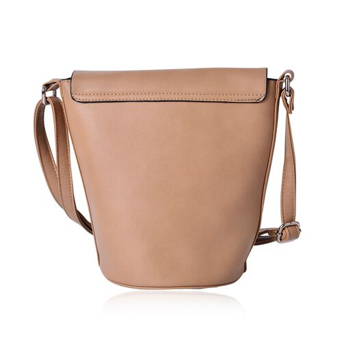 Greenwich Classic Structured Beige Messenger Bag with Adjustable Shoulder Strap ( Size 24.5x24x16x16 Cm)