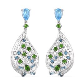 RACHEL GALLEY 4.02 Ct Swiss Blue Topaz and Multi Gemstone Drop Earrings in Sterling Silver
