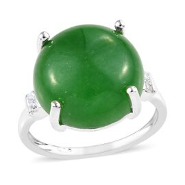 One Time Deal- Green Jade (Rnd 14 mm), Natural Cambodian Zircon Ring (Size P) in Sterling Silver 11.75 Ct.