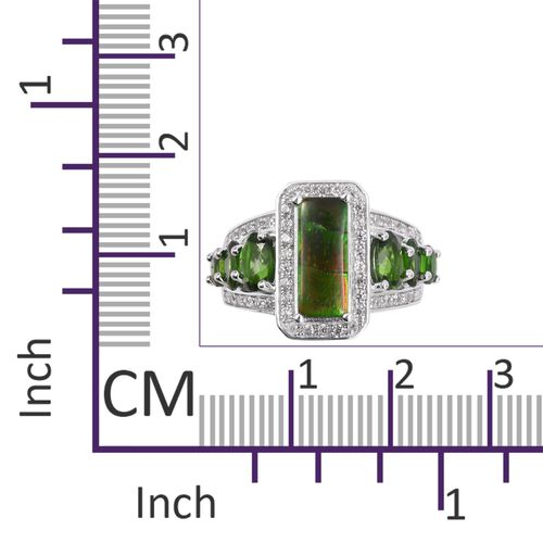 AA Canadian Ammolite (Bgt 12x5 mm), Russian Diopside and Natural White Cambodian Zircon Ring in Rhodium Overlay Sterling Silver.