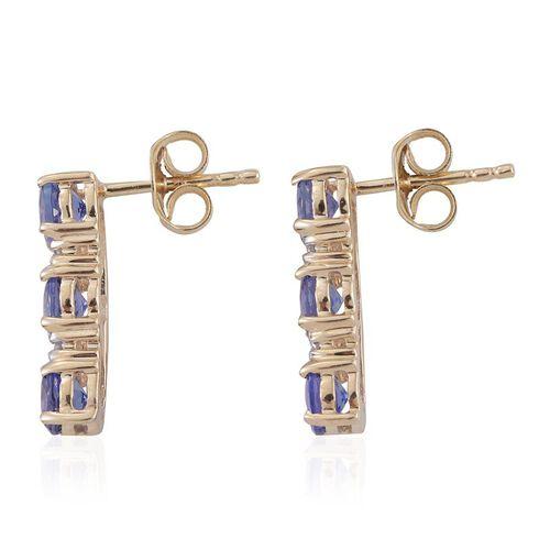 9K Yellow Gold 2.50 Carat AA Tanzanite with Diamond (I3/G-H) Earrings (with Push Back)