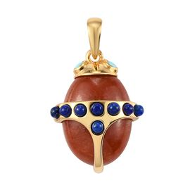 Sundays Child - Red Jade, Arizona Sleeping Beauty Turquoise and Lapis Lauli Pendant in 14K Gold Over