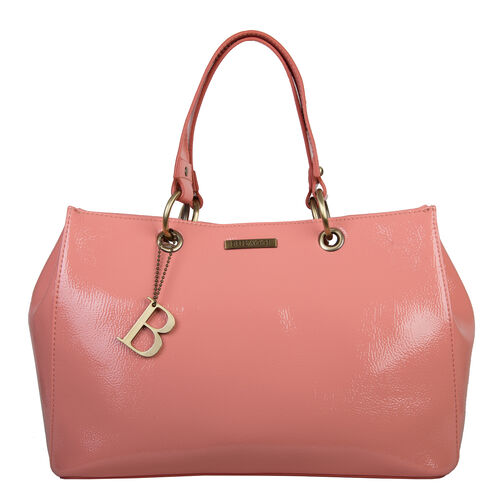 Bulaggi Collection - LILY Shopping Bag with Shoulder Strap and Zipper Closure (30x21x13cm) - Coral C