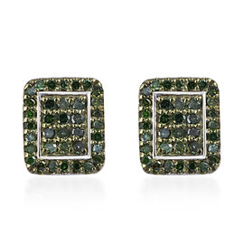 Green Diamond (Rnd) Earrings (with Push Back) in Platinum and Green Overlay Sterling Silver 0.500 Ct.