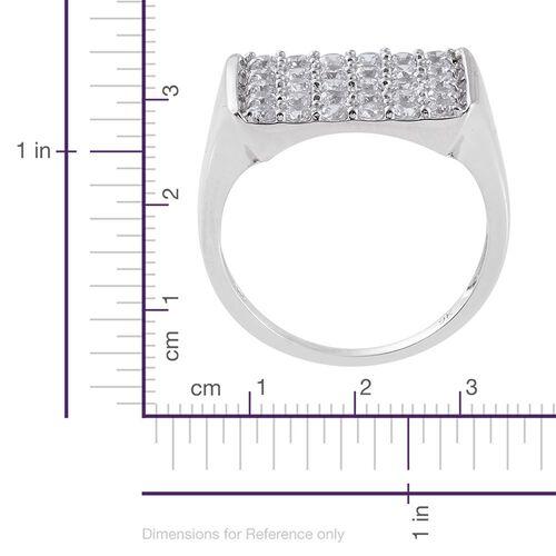J Francis - 9K White Gold Cluster Ring Made with SWAROVSKI ZIRCONIA