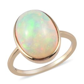 3.71 Ct AA Ethiopian Welo Opal Solitaire Ring in 9K Yellow Gold