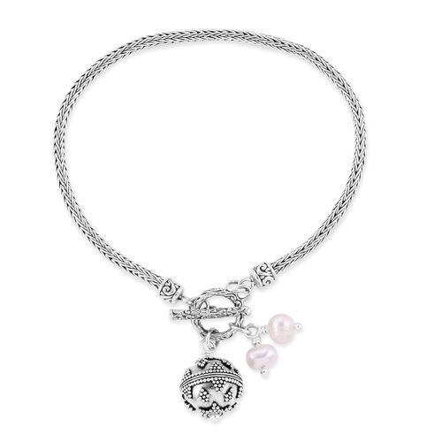 Royal Bali Collection- Freshwater Pearl Bracelet (Size 7.5) with Charms in Sterling Silver, Silver wt 11.21 Gms.