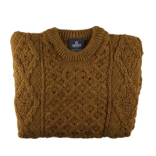 ARAN 100% Pure New Wool Sweater (Size XXL) - Mustard