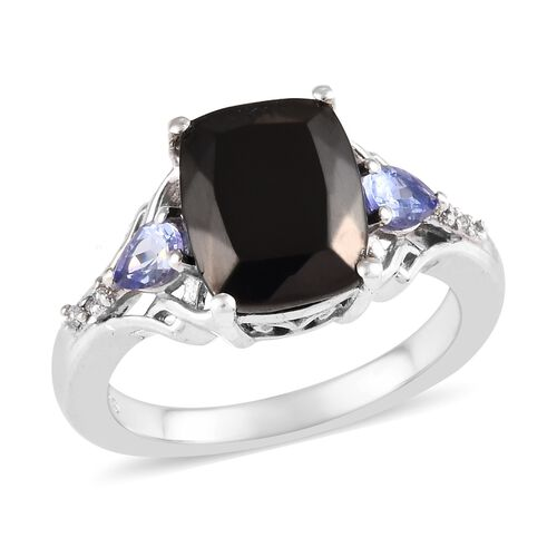 2 Carat Elite Shungite and Multi Gemstone Solitaire Design Ring in Platinum Plated Sterling Silver