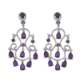 Lusaka Amethyst Dangle Earrings (with Push Back) in Rhodium Overlay Sterling Silver 6.88 Ct, Silver